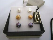 Honora Collection Set of 3 Freshwater Pearl Earrings  NIB