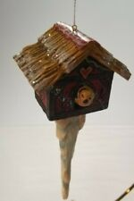 """Pam Schifferl Enchanted Winters Eve Christmas Orn. 6 1/2"""" T Birdhouse Icicle Exc"""