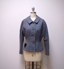 Vtg 1930s/40s Hudsons Gray Wool Fitted Jacket with Flared Peplum Waist Size Xs