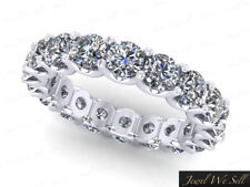 5.10Ct Round Diamond Shared U-Prong Eternity Wedding Ring 14k White Gold Gh I1