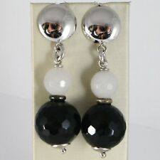 925 STERLING SILVER PENDANT EARRINGS WITH BIG FACETED BLACK ONYX & GRAY AGATE