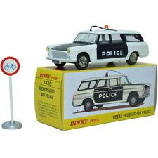 DIECAST ATLAS 1:43 Dinky toys 1429 PEUGEOT 404 BREAK POLICE Miniatures car model