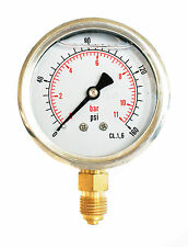 Hydraulic Pressure Gauge Glycerine Filled 0/160 PSI & 0/11 Bar 63mm Dial 1/4 BSP