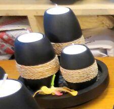Thai mango wood leaf motif tea lights with tray Black Rope wrapped Handicraft