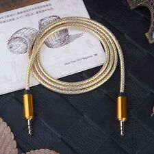 Gold 3.5mm Male to Male Car Aux Auxiliary Cord Stereo Audio Cable for Phone
