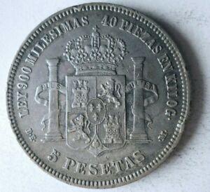1876 SPAIN 5 PESETAS - RARE - Excellent Old Silver Crown Coin - Lot #J10