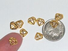 3pc miniature dollhouse tiny Diamond shaped golden ring floating flatback 7mm