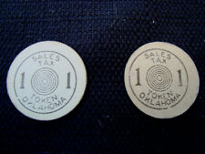 "2 (Two) Depression Era ""1"" Cardboard Oklahoma Sales Tax Tokens - Nice Condition"