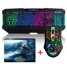 Ajazz Rainbow Illuminated Backlit Gaming Keyboard +Dark Knight Mouse + Mouse Pad