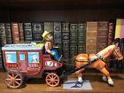 "Vintage Rare Japan Cragstan Ichida Batt Op Tin Litho Overland Stagecoach 60s 15"""