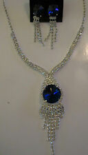 Necklace Earrings Set Blue Rhinestone Dangle Drop Center Cluster Silver NWT G79