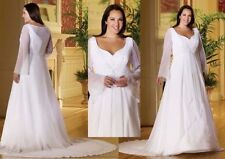 Boat Neck Plus Size A-line Long Sleeve Wedding Dresses