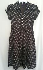 Signature by Robbie Bee Y Neckline Dress Lined Size 10 Brown and White Polka Dot