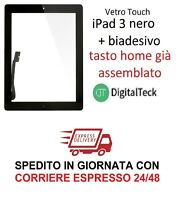 TOUCH SCREEN VETRO per Apple iPad 3 WiFi e 3G MOD. A1416 A1430 A1403 NERO TASTO
