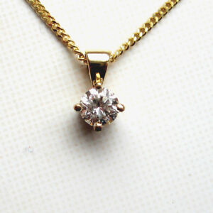 New 1/5ct Diamond Solitaire 9ct Yellow Gold Pendant & Chain £215 Freepost