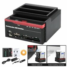 """3 IDE SATA 2.5"""" 3.5"""" HDD Hard Drive Disk Clone Docking Station Card Reader USA"""