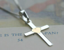 925 sterling silver plain heart cross & chain gift boxed JCI71