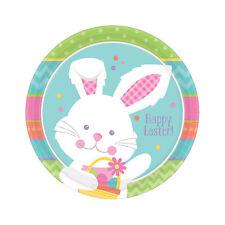 8 x muelle de placas de fiesta de papel Pascua Bunny Fiesta Vajilla 18cm Plato de Postre
