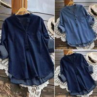 US STOCK Women Denim Blue V Neck Tops Shirt Blouse Buttons Down Tee T-Shirt Plus