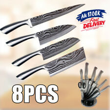 8pcs Kitchen Knife knives Set Stainless Steel Chef Scissor  Damascus pattern