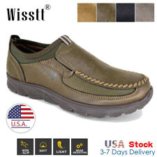 Men's Leather Casual Work Shoes Antiskid Slip On Driving Dress Loafers Moccasins