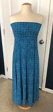 LulaRoe Maxi Skirt, Blue & Navy Basket Weave, LG NWT