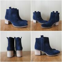NEW CLARKS MOVIE FIESTA WOMENS NAVY BLUE SUEDE ANKLE BOOTS UK SIZE 6.5