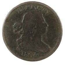 1804 United States Draped Bust Half Cent - Crosslet 4 - Stems - VF