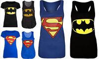 New Ladies Womens Plus Size Sleeveless Super/Bat Hero T-Shirt Vest Top UK 8-26