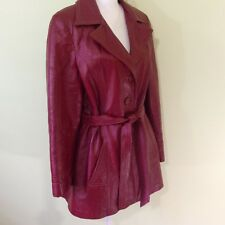 Vtg Womens Burgundy Leather Coat Jacket Leathercraft Process Of America Sz 8