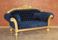 Barock Sofa Couch Sessel Polstermöbel Antik Massiv Stil Art Vintage gold blau