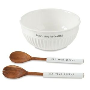 Mud Pie E1 Circa Italian Don'T Stop Be-Leafing Fluted Salad Bowl Set 46000100