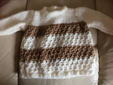 """new hand knitted cream/ brown jumper approx 19"""" chest,10"""" long, buttons, on back"""