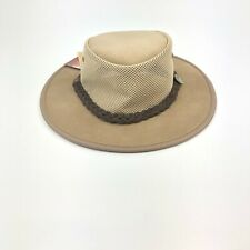 Barmah NEW Leather Foldaway Suede Cooler Sand Hat 1064 L Ventilated SHIPS FREE