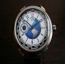 World Time dial large men's 18 jewels watch original movement caliber 3602