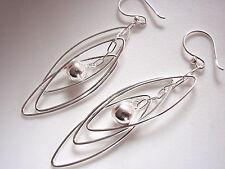 Triple Elliptical Hoop Dangling Ball Earrings Sterling Silver Dangle Corona Sun