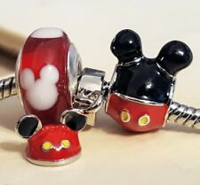 Disney Playful Mickey Black Mouse Ears Hat Red Murano Glass European Bead Charms