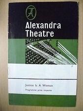 ALEXANDRA THEATRE PROGRAMME 1966- JUSTICE IS A WOMAN-JACK ROFFEY & R KINNOCH
