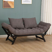 Sofa Bed Couch Chaise   Lounger 3-in-1 3-Position Dark Grey