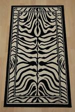Cheap Budget Black & White/Ivory Zebra Print Modern Medium Large Rug 160x230 cm