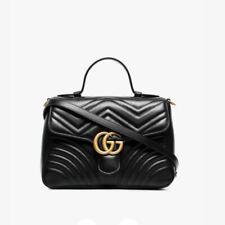 GUCCI Hibiscus Handbag Black Small Bag Leather GG Top Handle Marmont Matelasse