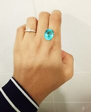 5.90ct. 13.5x11mm. RARE! OVAL NEON BLUE PARAIBA TOURMALINE CREATE AAA+ QUALITY
