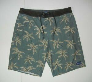 JACK O'NEILL Green Palm Trees BOARD SHORTS Summer Beach Surf Swim Trunks Men 32