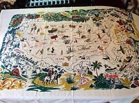 "Retro Souvenir Vintage Style Cotton 40's/50's Tablecloth  VACATIONLAND  58""x72"""