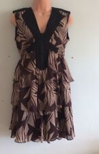 WHISTLES Gorgeous Brown, Beige and Black tiered Silk Dress Size 10 Excellent Con