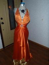formal pageant evening gown hand beaded halter Sz 6