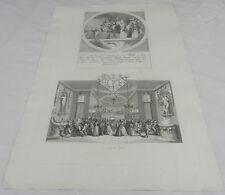 1822 Antique Hogarth Print/PRINCIPAL INHABITANTS OF YE MOON & MASQUERADE TICKET
