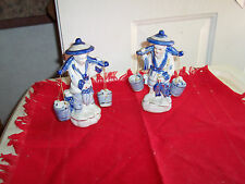 Vintage Chinese Porcelaine Lady & Man With Water Buckets