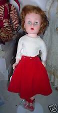 "Big Vintage 1950s Jointed Plastic Girl Doll 17"" Look"