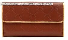 Longchamp LM Cuir Leather Clutch Wallet Oak Brown Horse Stamping Metallic Trim